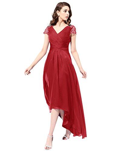Dresstells Robe de demoiselle d'honneur Robe de cérémonie longue col en V asymétrique Rouge Foncé