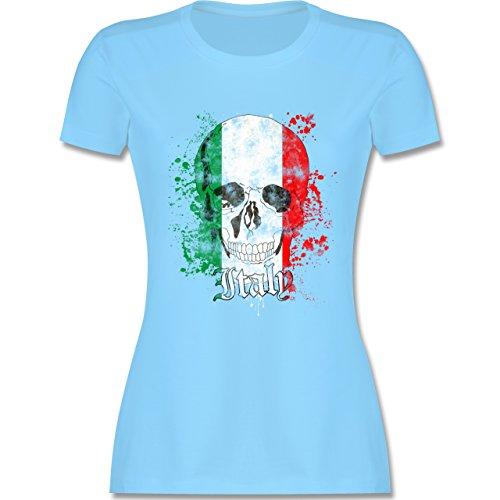EM 2016 - Frankreich - Italy Schädel Vintage - tailliertes Premium T-Shirt mit Rundhalsausschnitt für Damen Hellblau