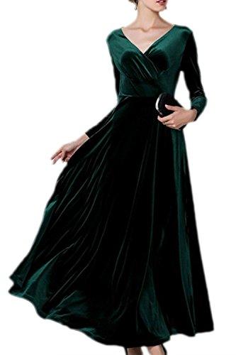 Frauen Elegant Samt Lange Ärmel Mit Maxi - Kleid Und Größe Green XL Frauen Maxi Abend Kleider