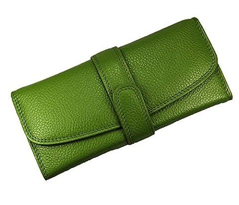 KISS GOLD(TM) Elegant Glossy Genuine Leather Womens' Wallet Case Purse Clutch Bag (Green)