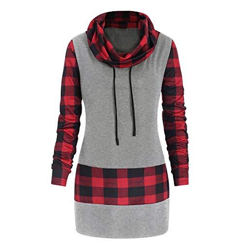 Plus Size Bluse Damen Langarm Plaid Print Bogen Sweatshirt Pullover Tops, Malloom Bedruckte unregelmäßige Oberteile Grau, Größe S