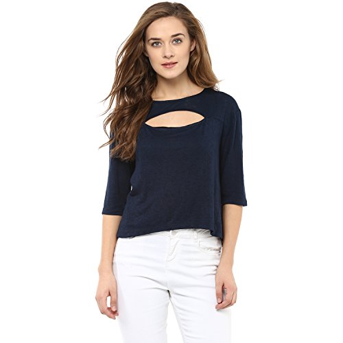 Femella Fashion's Blue Front Cut Out Jersey Top