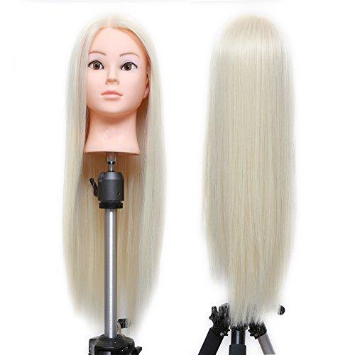 ERSIMAN Kosmetik-synthetische Faser blonde Haare Schaufensterpuppe Kopf Friseur Puppe Trainings Kopf 27
