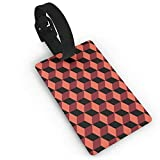 Red Orange 3D Cubes Black Travel Luggage Tag Suitcase ID Lablels Accessories Leather Wristband