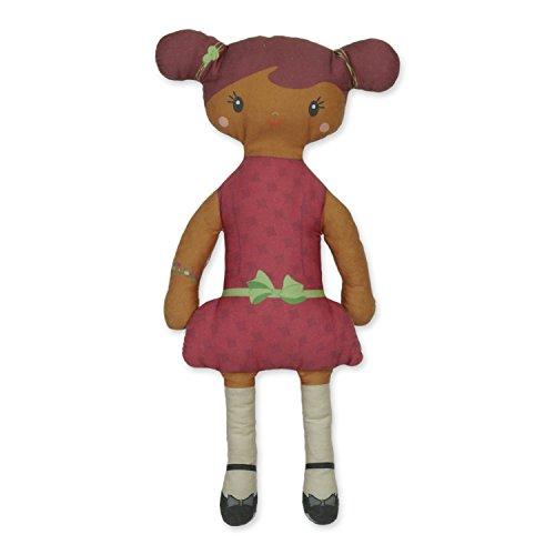 Kit à coudre poupée de chiffon rouge en tissu bio. Kit de couture complet. Jeu de loisir créatif pour enfant à partir de 8 ans (Pauline)