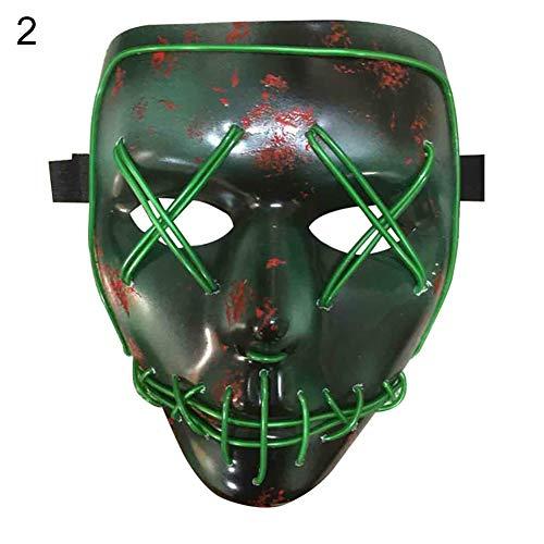 Draht leuchtende LED Maske Halloween Kostüm Party DJ Club Festival Decor - Blau grün ()