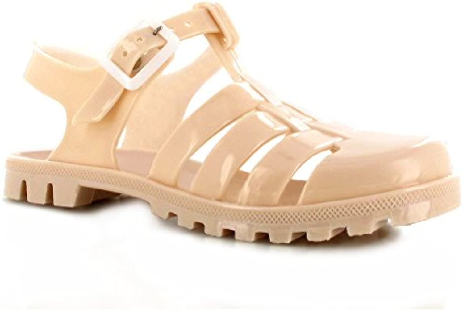 s mesdames flat rétro jelly summer sandales holiday holiday holiday tongs chaussures taille 3 4 5 6 7 8 (uk3 / ue 36 / 5, nu) e379d4
