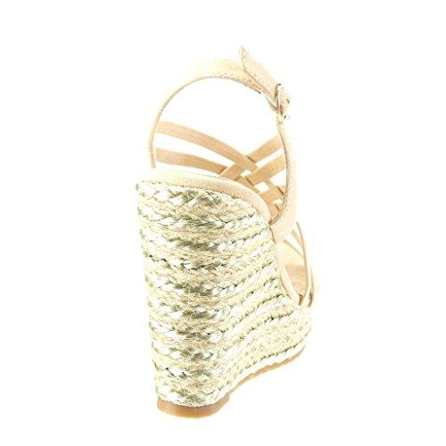 Angkorly Chaussure Mode Sandale Espadrille plateforme femme lanière multi-bride Talon compensé plateforme 11.5 CM Beige
