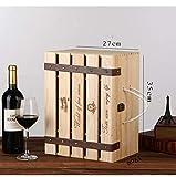 ALXDR Cassetta per Vino in Legno da 6 Bottiglie, Cassa in Pino Cassette per Vigna Cassa per Vino con Coperchio, Maniglia E Inserti per La Conservazione della Bottiglia di Vino