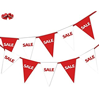 Party Decor SALE Red & White Mix Bunting Banner 15 Flags For any shop retail sale and other commercial action - For Guaranteed Success Decoration By