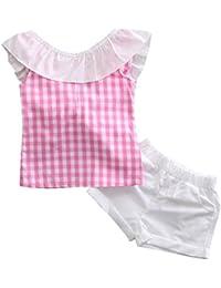SMARTLADY 2~6 Años Niñas Bowknot Camisa a Cuadros sin mangas y Pantalones cortos