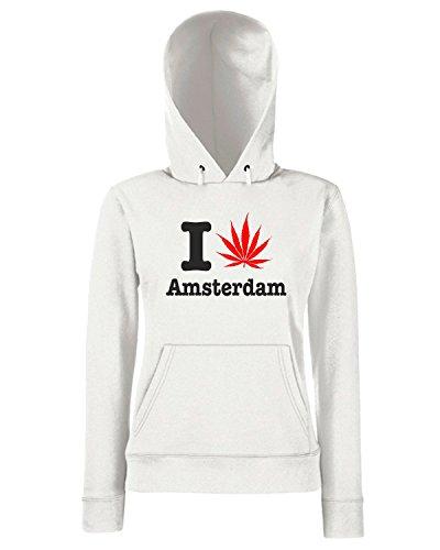 T-Shirtshock - Sweats a capuche Femme T0178 I LOVE AMSTERDAM Blanc
