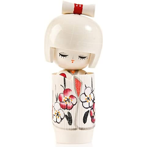 Bambola Kokeshi in legno, motivo: Dreaming of Spring, colore bianco