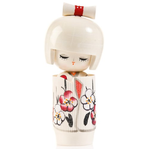 Dreaming of Spring - Muñeca Kokeshi de madera, color blanco