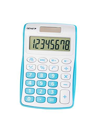 Genie 120 B 8-stelliger Taschenrechner (Dual-Power (Solar und Batterie), kompaktes Design) 5 Stück, blau