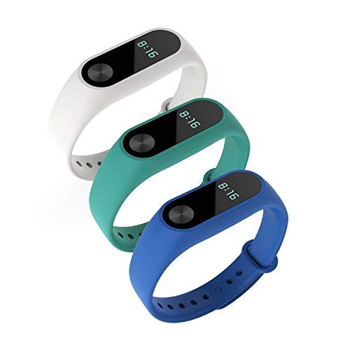 Awinner Colorful Waterproof Replacement Bands for Xiaomi Mi Band 2 Smart Miband 2nd (No Activity Tracker) (Blue,White,Cyan)