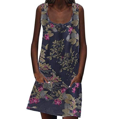 LOPILY Damen Strandkleid Casual Böhmischen Strand Blumendruck Hemdkleid Blusenkleid mit Taschen Vintage Retro Blüte Drucken Lose Tunika Blusenkleider ()