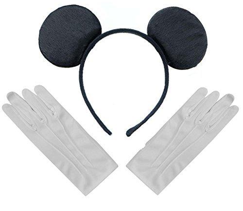 Schwarzen Mickey Mouse Disney Kostüm Ohren Stirnband + Handschuhe Set Weiße