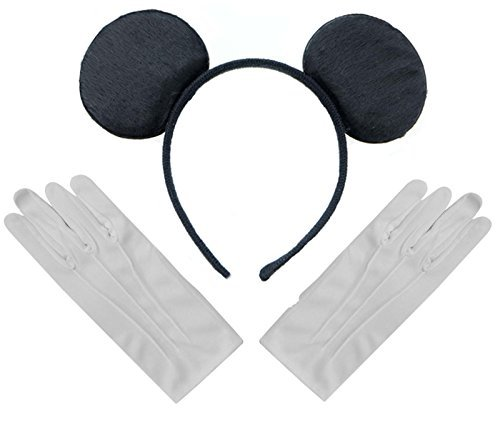 Schwarzen Mickey Mouse Disney Kostüm Ohren Stirnband + Handschuhe Set Weiße (Mickey Mouse Kostüme Accessoires)