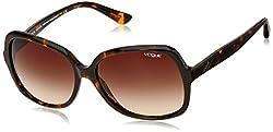 Vogue Gradient Square Sunglasses (0VO2926SM204813Medium) (Dark Havana)