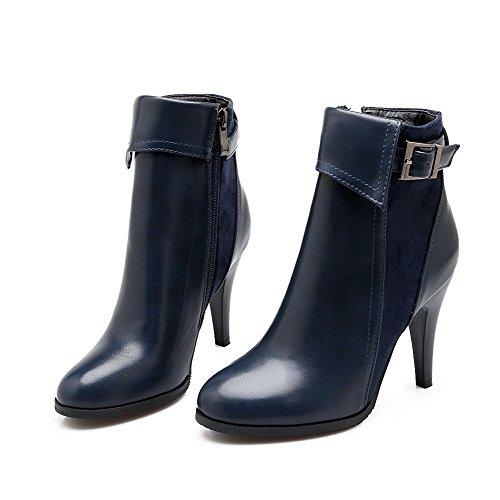 VogueZone009 Damen Reißverschluss Pu Leder Rein Niedrig-Spitze Stiefel Blau