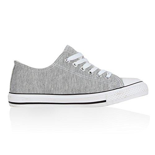 Damen Sneakers Kult Sportschuhe 70862 Stoffschuhe Schnürer Gr. 36-41 Grau