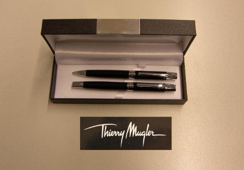 Schreibset, Kugelschreiber & Bleistift, Thierry Mugler, schwarz