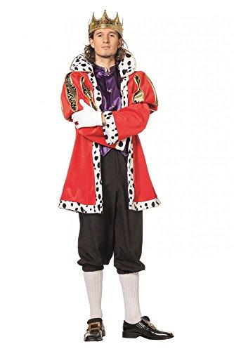 Karnevals-Kostüm König Deluxe für Herren Hermelin-Mantel, Weste, Hose, Krone, Größe:52