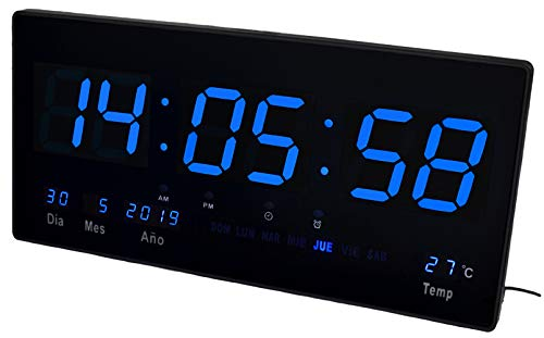 JeVx Reloj Digital de Pared Led Color Azul Calendario Termometro Alarma Despertador Clock Hora Fuente de Alimentacion