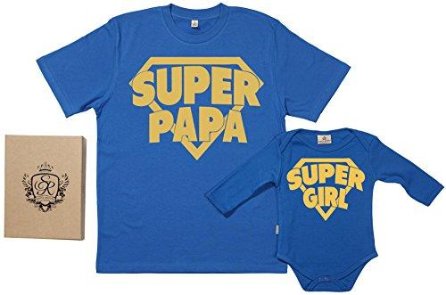 SR - Geschenkpackung Baby Geschenkset - Super Papa & Super Girl - Papa T-Shirt & Baby Strampler in Geschenkbox - Vater Baby Geschenkset - Blau, S & Newborn