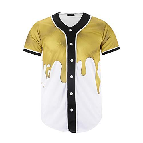 XIUFANG Männer 3D Digital Druck T-Shirts Cool Neuheit Komisch Mode Kreativ Original Einfach Lose Baseball-Trikot Lässig Sommer Kurzarm Rundhalsausschnitt Top Tees zum Jugendliche,A,2XL -