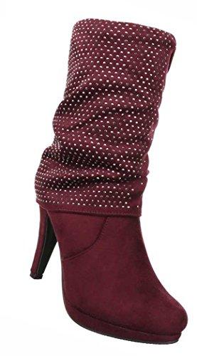 Damen Stiefeletten Schuhe High Heels Stiefel Schwarz Braun Rot 36 37 38 39 40 41 Rot