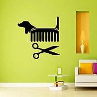 Handaxian Creative Vinyl Wall Art Sticker Pet Shop Pet Grooming Salon Cat Dog Scissors Comb Wall Decals Decor56*56cm