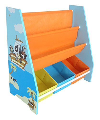 Kiddi Style Kinder Aufbewahrungsregal in Piraten Optik & stylisches Kinderregal mit 3 Boxen –...