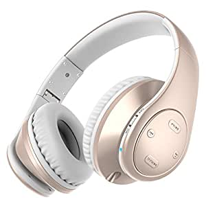 Picun P7 On-Ear Bluetooth Headset Wireless Foldable Earphones Bluetooth V4.0 with Deep Bass, Microphone, FM Radio for iPhone, Sony, HTC, Blackberry and other Bluetooth-enable Devices (Rose Gold)