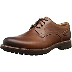 Clarks Montacute Hall - Zapatos con cordones Derby para hombre, color dark tan lea, talla 43