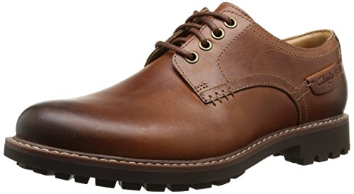 Clarks - Montacute Hall, Scarpe con lacci Derby da uomo, marron (dark tan lea), 43