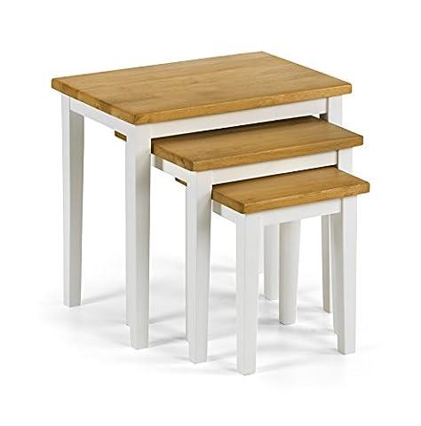 Julian Bowen Cleo Tables gigognes 2tons, bois, chêne/blanc