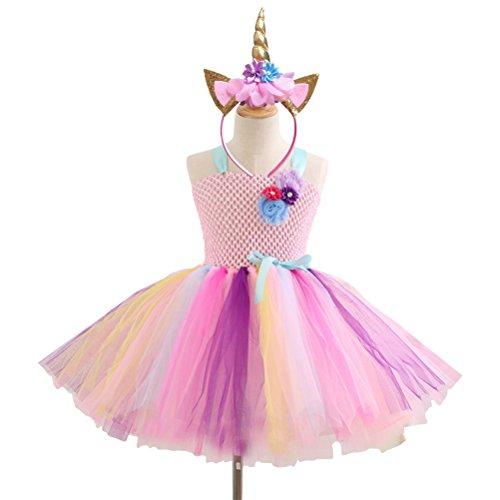 �dchen Tutu Kleid Mädchen Party Kleider mit Einhorn Stirnband für Weihnachten Halloween Kostüm 8-9Y (Rosa) (Cute Christmas Elf Kostüme)