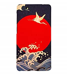 Fuson Designer Back Case Cover for Vivo V5 (swans White Swans Sun Sea Sea Waves)