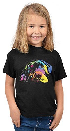 v-Mädchen-Shirt/Kinder-Shirt mit Hunde-Druck: Lying Lab - tolles Geschenk- cooler Look/kräftige Farben (Lustig Lab Welpen)