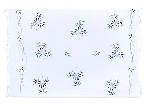 Sarong ca. 170cm x 110cm Handbemalt inkl. Sarongschnalle im Runden Design - Viele exotische Farben und Muster zur Auswahl - Pareo Dhoti Lunghi Blumen Weiss Blau Grün