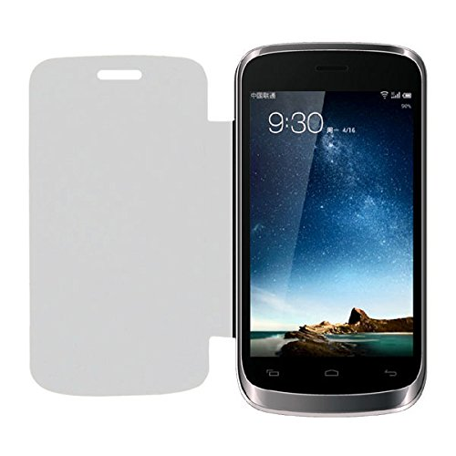 Acm Leather Diary Folio Flip Flap Case For Lava Iris 401E Mobile Front & Back Cover White  available at amazon for Rs.179