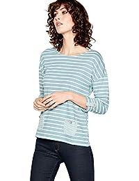 202d6869a7f377 Mantaray Womens Green Stripe and Dandelion Print Cotton Top