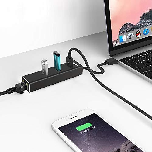 TeckNet [ Versión Nuevo Hub USB 3.0 Ethernet Adaptador 10/100/1000 Ggabit Ethernet LAN, USB 3.0 Hub de 3 Puerto y Puerto RJ 45, Compatible con Macbook Pro, Xiao mi Box, Notebook e PC