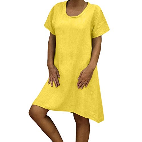 Hahuha Kleiden,Women O Neck Casual Solid Above Knee Dress Sleeve Loose Party Mini Dress