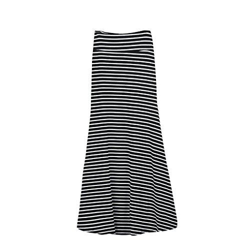 Vovotrade® Femme Jupe Asymétrique Haute Taille Rabat Sur le Longue Robe Jupe Maxi Extensible Noir