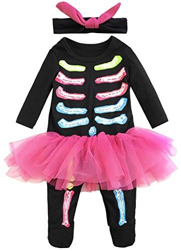 Fancyinn Bebes Disfraz de Halloween Mameluco Infantil con Diadema (Ros