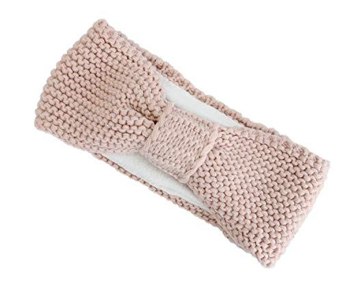 irisaa Damen Stirnband Headband Ohrenschutz Grobstrick mit Fleece Innenfutter, Kopfband SB0119, stirnband farbe:Pink