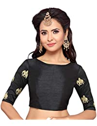 2b4b5dcd617 STUDIO SHRINGAAR WOMEN S BLACK POLY RAW SILK ELEPHANT EMBROIDERED SAREE  BLOUSE